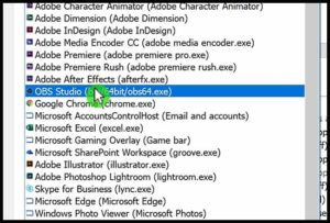 select obs Studio in programm settings