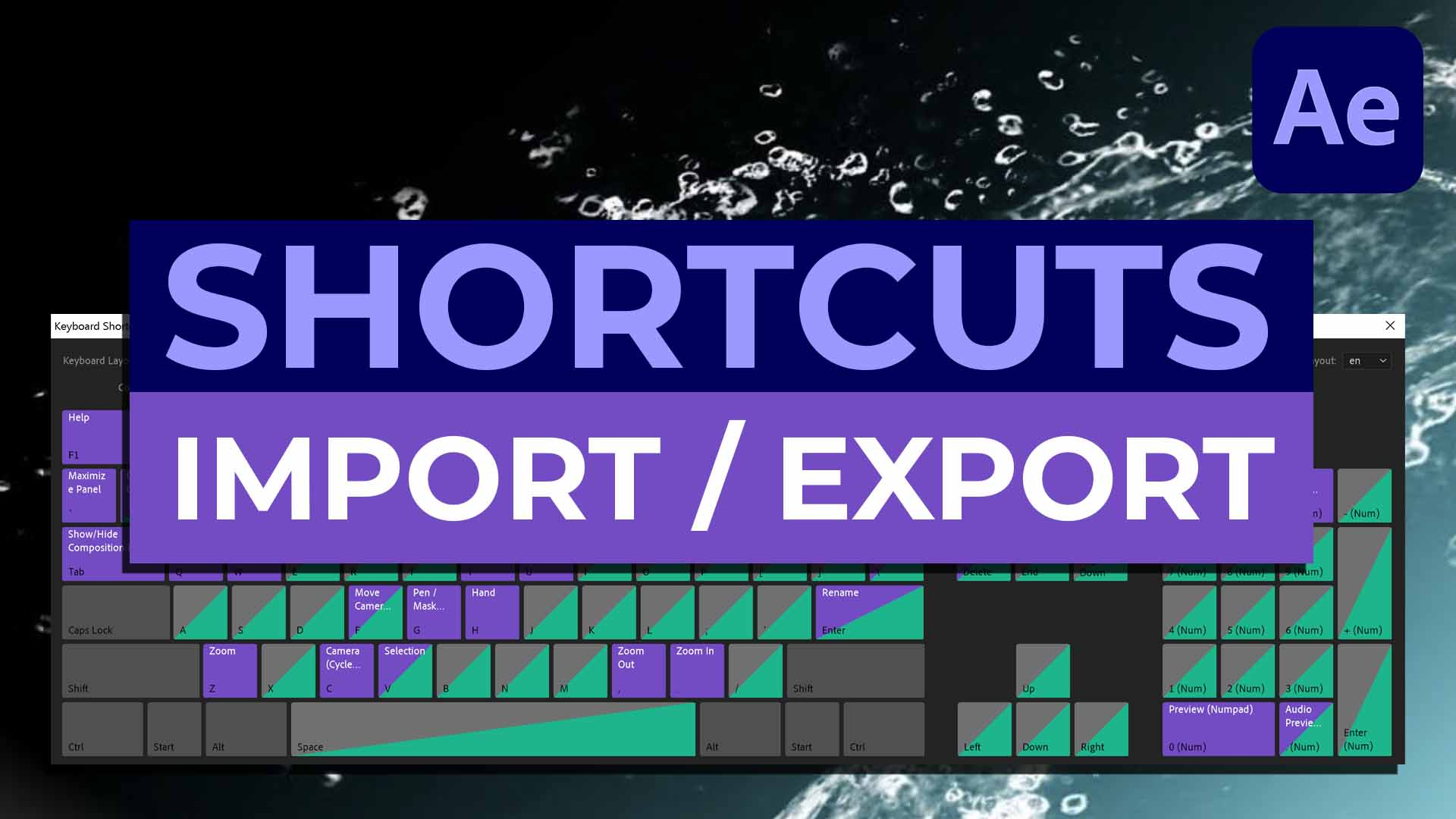 After Effects Keyboard Shortcuts Export import - COVER