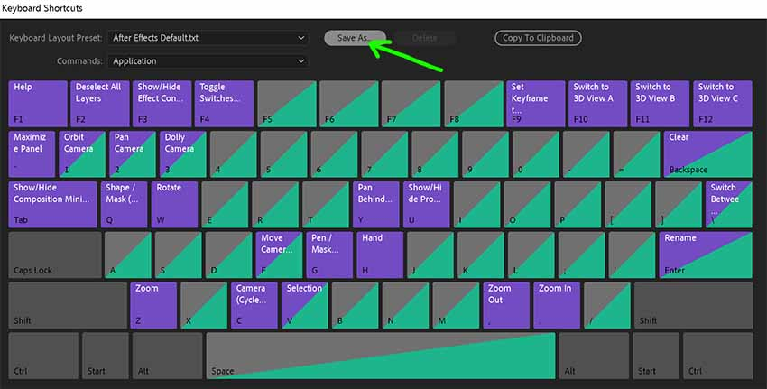 Step 02 - Save as Keyboard Shortcuts in After Effects