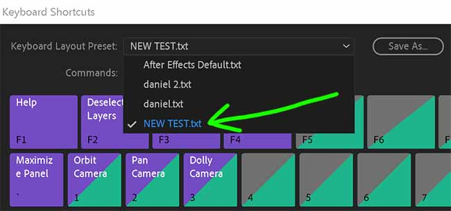 Step 04 - Select from List Keyboard Shortcuts in After Effects