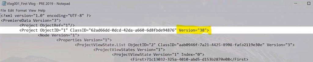 Open in notepad - downgrade Premiere Pro File