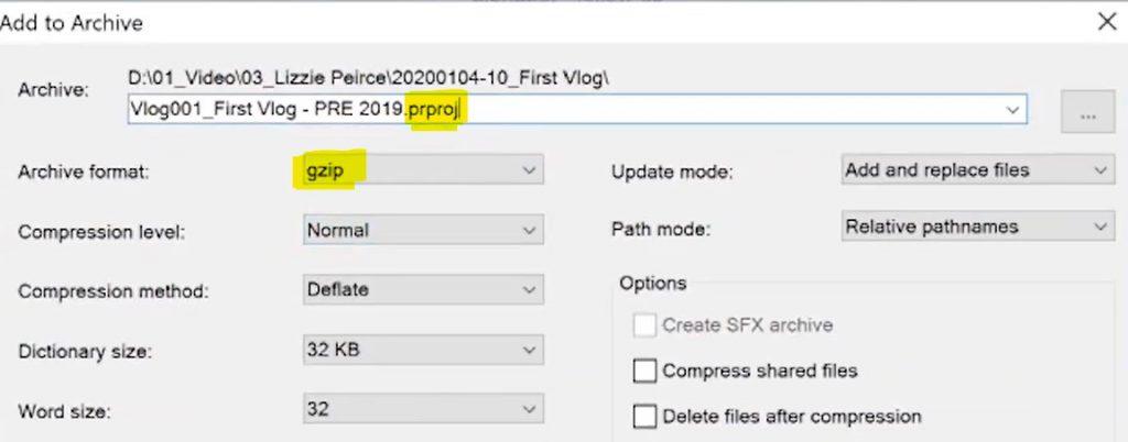 change to gzip and rename - downgrade Premiere Pro File