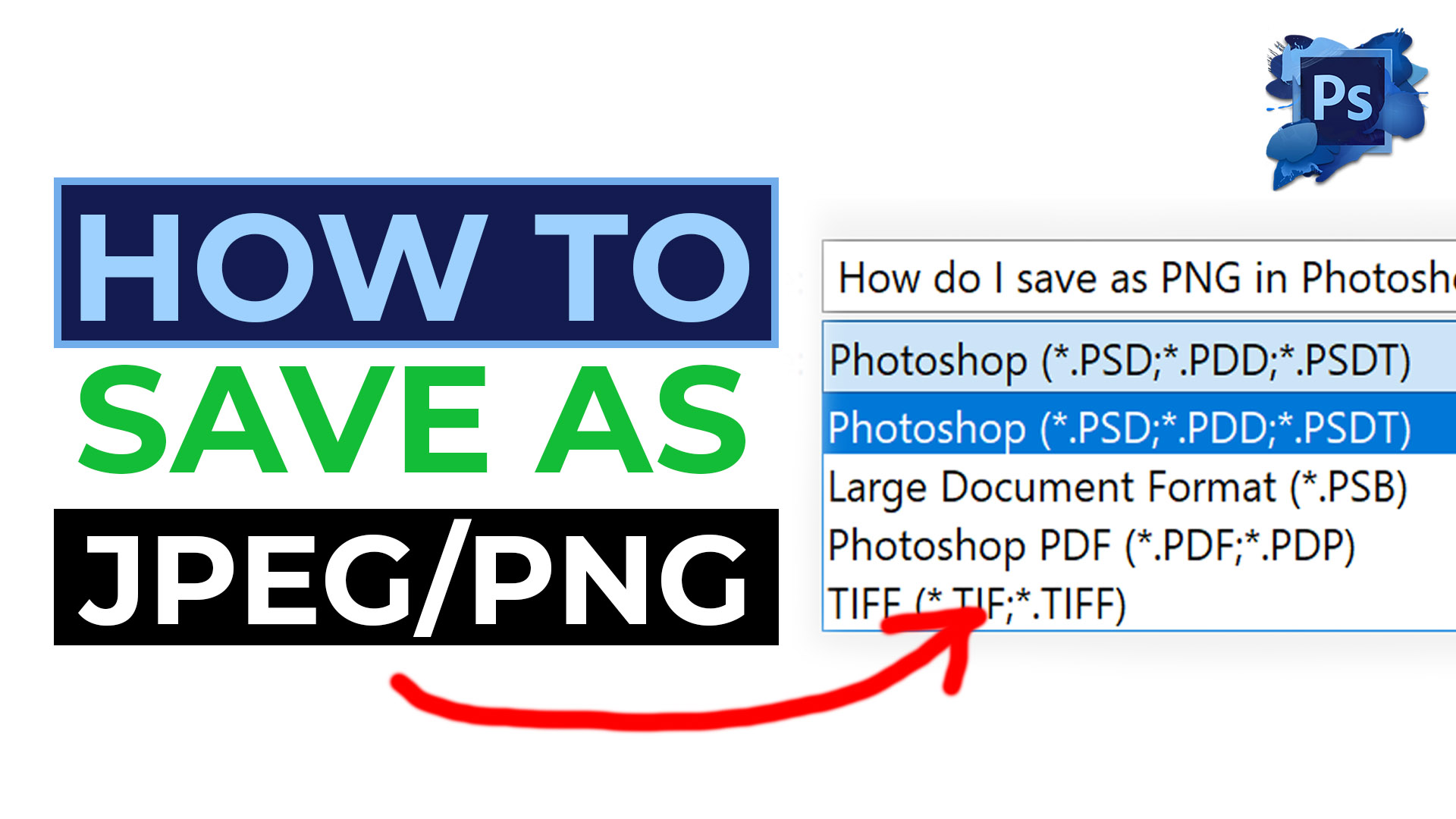 How do I save as PNG in Photoshop 2021